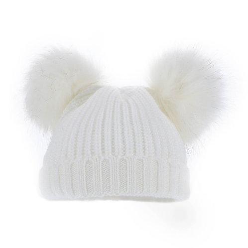 White Double Pom Pom Hat (0-6m)