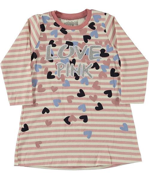 Girls long sleeve dress, love pink