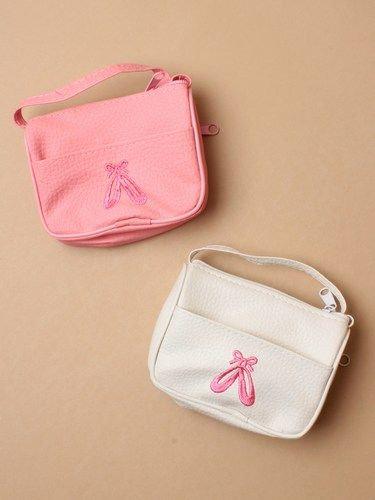 Ballet shoe motif Girls Handbag with long Strap, pink or white
