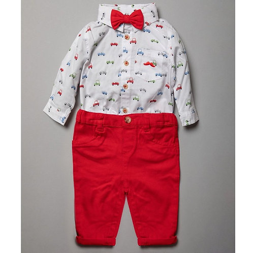 BABY BOYS BODYSUIT SHIRT WITH BOW TIE & CHINO PANT OUTFIT (0-18 MONTHS)