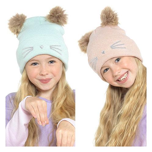 Girls Kitty 2 Pom Pom Hat