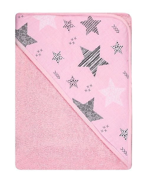 Pink Baby Towel with stars print on the hood