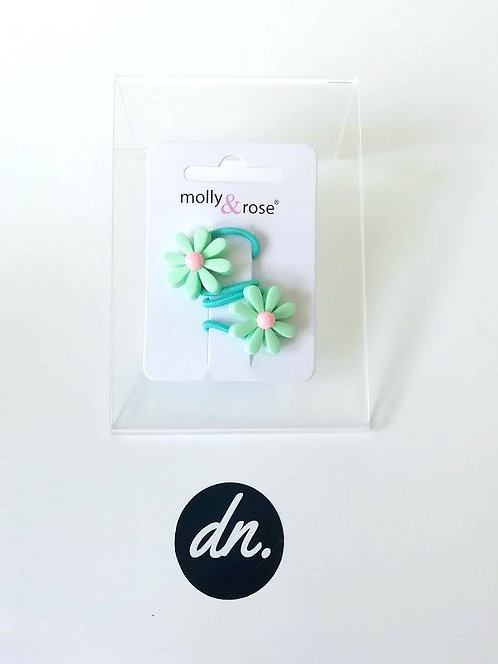 Daisy flower elastics - 2 Pk - Mint Flower