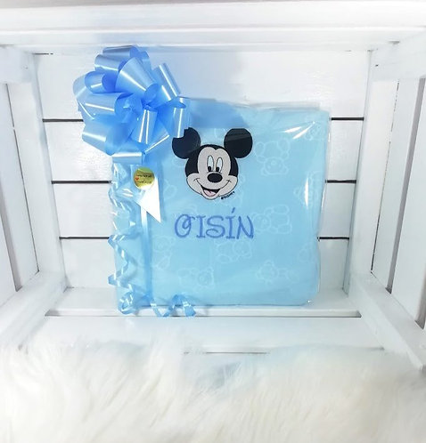 Blue Mickey Mouse Personalised Baby Blanket