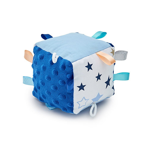 baby boy toy, sensory cube, soft, blue