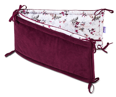 Cot Bumper, Baby Girl, Royal Rose, Wine, Luxury