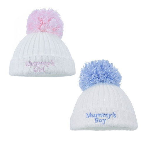 Mummy's Girl / Boy CABLE KNIT HAT WITH EMB POM POM 0-12M