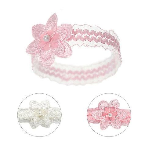 Lace Headband w/Crochet Flower & Pearl