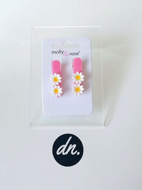Daisies on pastel beak clips 3cm -Pink