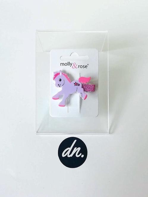 Cute Pony Motif  / Glitter Beak Clip - Lilac