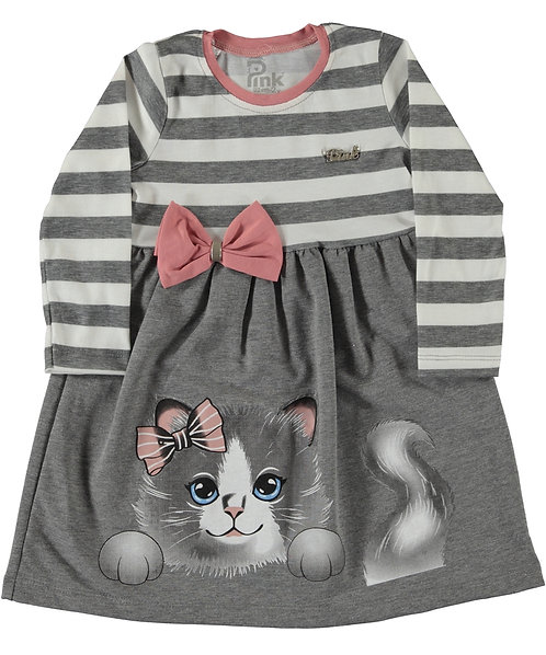 Kitten & Bow Dress - Grey Stripe