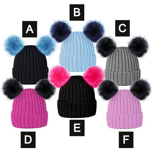 Girls Ski Beanie Hats With Faux Fur Pom Pom
