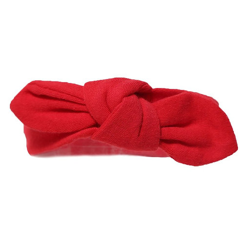 Baby Girl Cotton Knot Headband - Red
