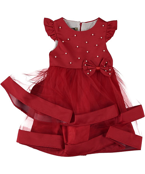 Girls Luxury Red Satin Dress with white pearls