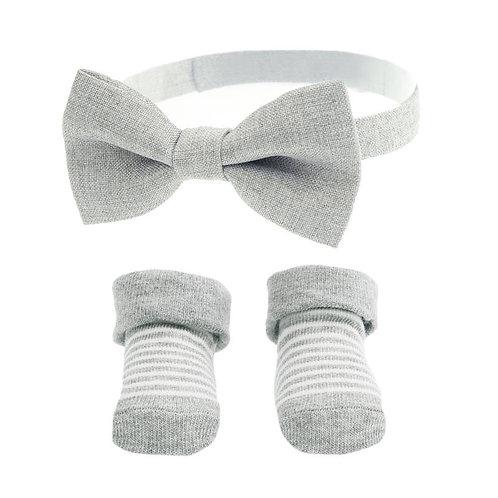 Grey Baby Boy Bow Tie & Sock Set (6-12 Months)