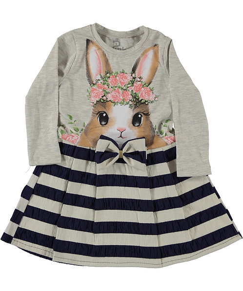 Girls Dress, long sleeve dress with little bunny design
