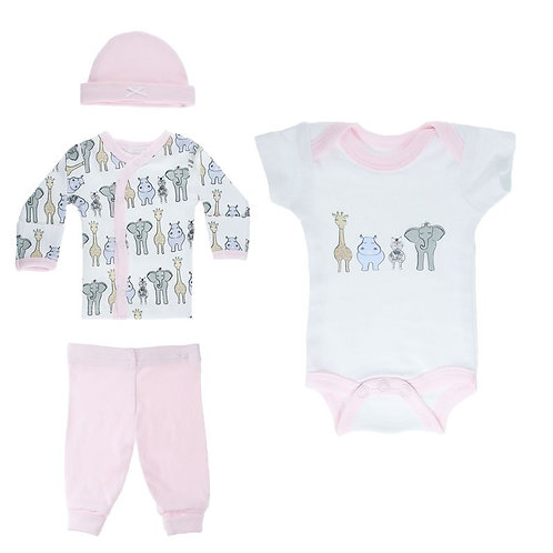 Premature Baby Clothes - Tiny Baby - 4 Pieces Set, Pink with Safari Print