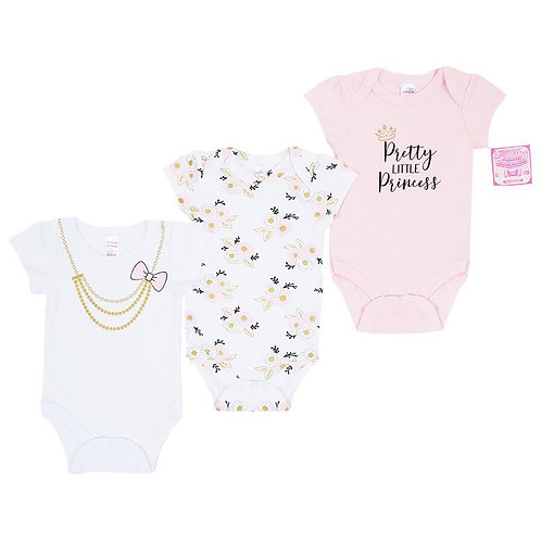 "GIRLS 3 PACK BODYSUITS (NB-9 MONTHS) ""Princess"""
