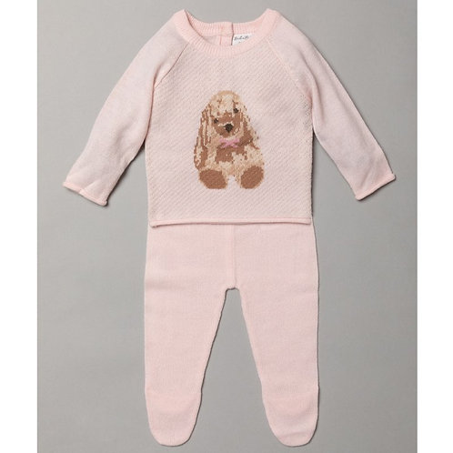 BABY GIRLS BUNNY KNITTED 2 PIECE OUTFIT (0-9 MONTHS)