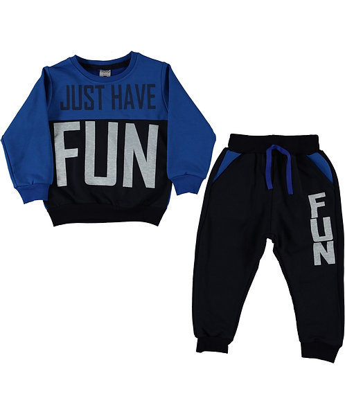 Boys tracksuit, panel tracksuit with Just have fun slogan, navy blue