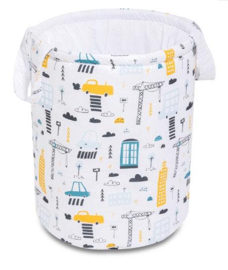 Baby Nursery room storage basket, white & yellow
