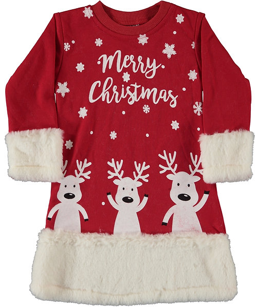 Girls christmas dress, red with white fur