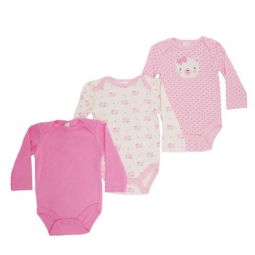 Baby Girl 3 pack Bodysuit, Long Sleeve, Pink, Bear Design