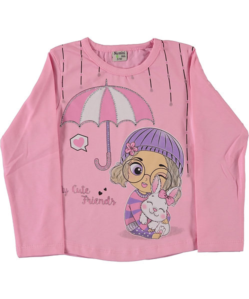 girls long sleeve cotton dress with a girl print