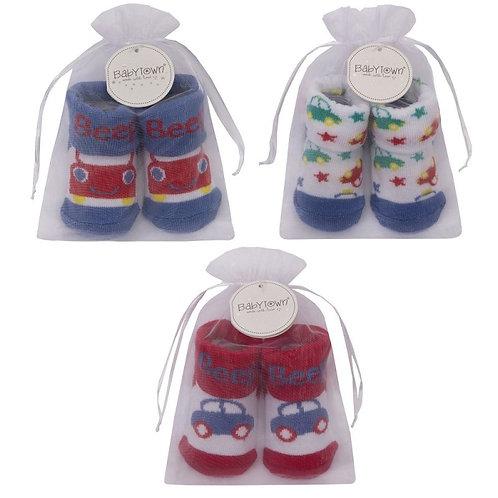 Baby Boy Organza Bag Gift Socks