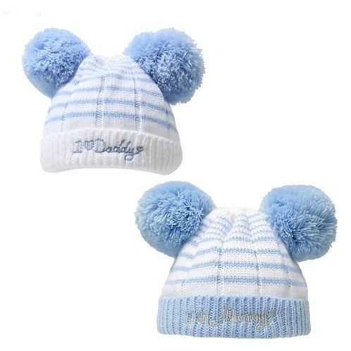 BLUE I ♥ MUMMY/DADDY POM-POM  HAT (0-6M)