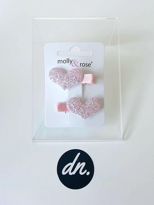 Glitter Clips - Pink Hearts