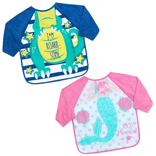 Long Sleeve Baby Bib / Coverall, Pink Mermaid body, Navy/Green Dinosaur Body, Soft Terry Sleeves for baby's, toddler Comfort