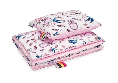 Baby Girl Bedding Set, Pink, Navy, Swallows