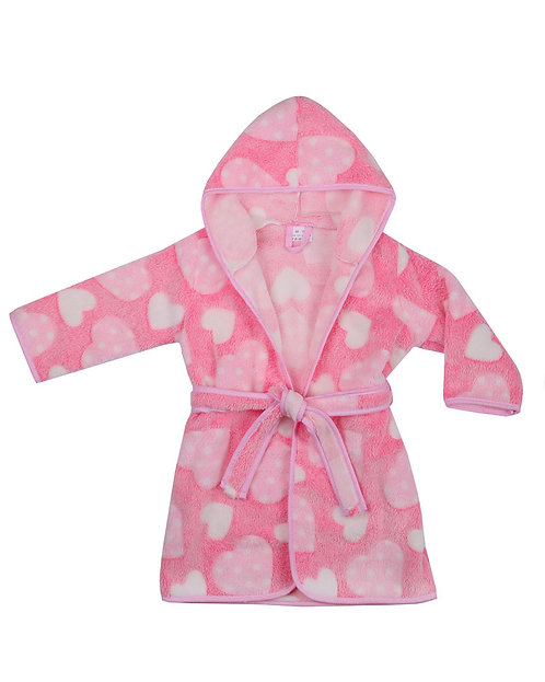 Baby Girl Dressing Gown, Robe, Pink with 3D Hearts Design, Soft Fleece with Hood
