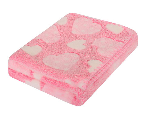 Baby Fleece blanket - pink with hearts