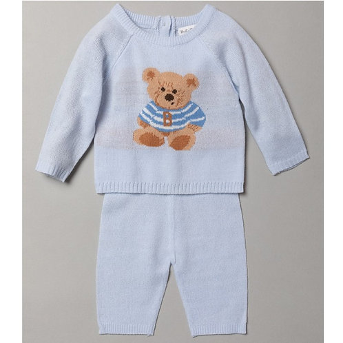 BABY BOYS BEAR KNITTED 2 PIECE OUTFIT (0-9 MONTHS)