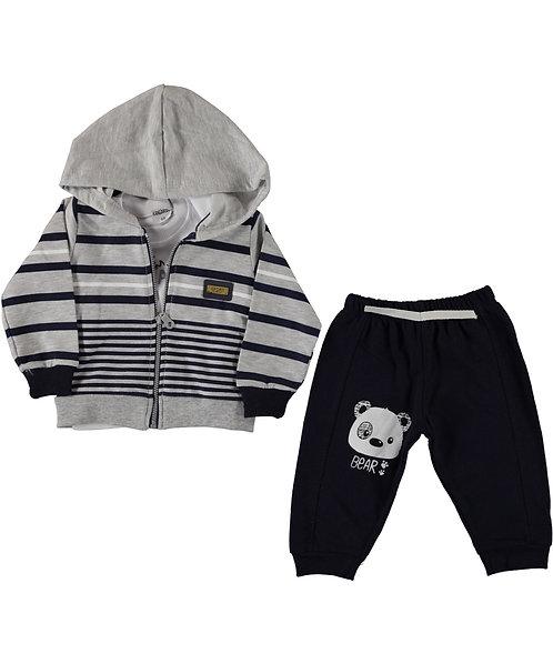 Baby Boy Tracksuit Grey, Navy stripe Hoody