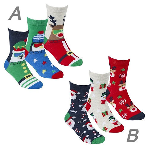KIDS 3 PACK CHRISTMAS COTTON RICH DESIGN ANKLE SOCKS