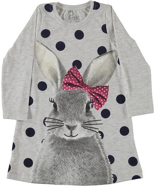 girls long sleeve cotton bunny dress with large polka dot