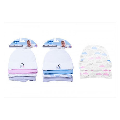 Baby Hats, 4pk, stars, clouds and plain, Pink and Blue Options