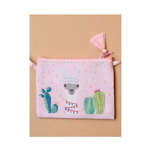 Pink Alpaca printed fabric zip purse / handbag with tassel