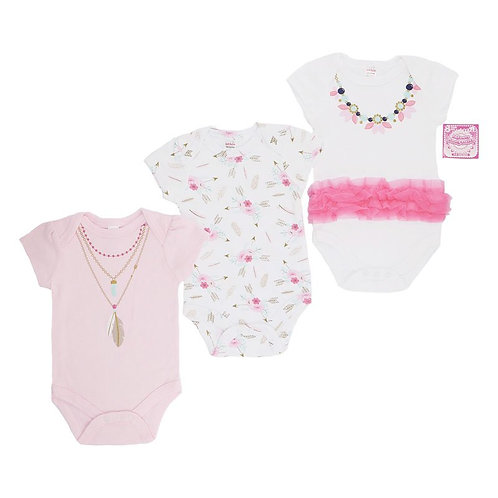 Girl Bodysuit, 3pk, Necklace design, with Frill