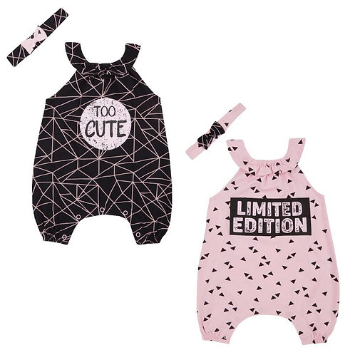BABY GIRLS LIMITED EDITION/TOO CUTE PLAYSUIT & HEADBAND SET (NB-24 MONTHS)