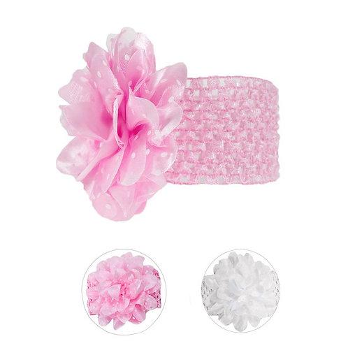 Crochet Headband with Large Spotty Flower