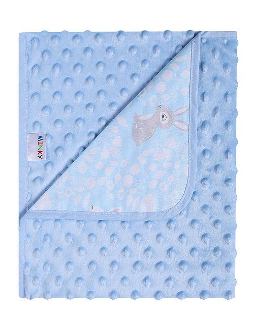 Baby Boy Blanket, Blue, Minky, Jersey, Design, Bunny