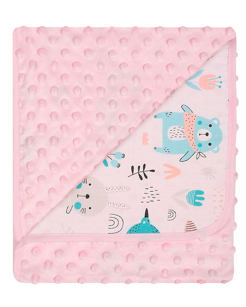 baby girls pink blanket with animal print