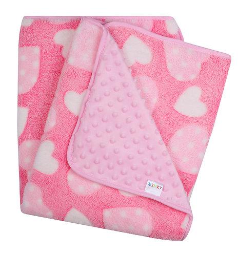 Baby Pink Minky / Fleece Blanket (Pink Hearts)