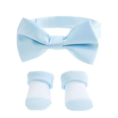 Light Blue Baby Boy Bow Tie & Sock Set (6-12 Months)