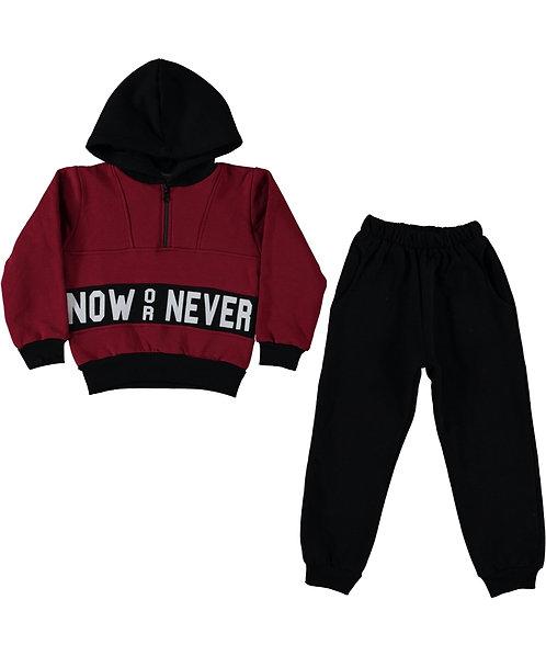 Now Or Never Boys Tracksuit - Burgundy