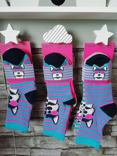 Girls Cotton Rich 3Pk Design Socks (Pink Pups)